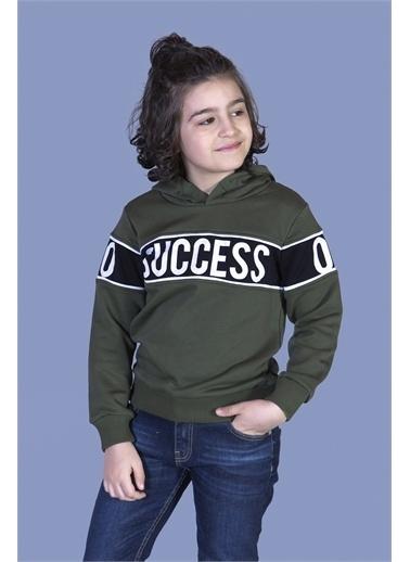 Toontoy Kids Toontoy Erkek Çocuk Garnisi Baskılı Kapüşonlu Sweatshirt Haki